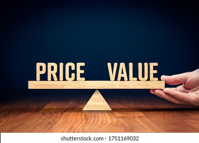 Price and value balance marketing concept. Hand of manager balancing texts price and value.