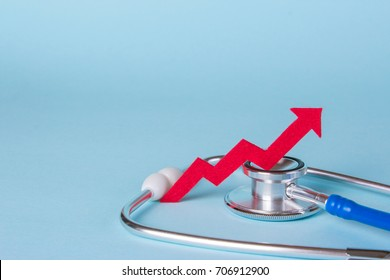 Prices are rising. Arrow diagram grows up near a stethoscope. Copy space for text