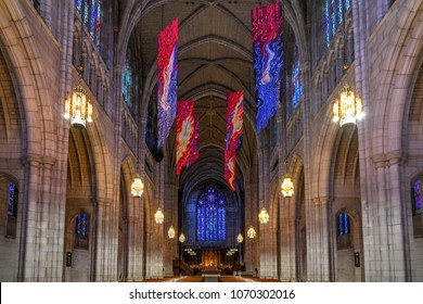 Priceton, New Jersey - February 19, 2018: The Princeton University Chapel,  the university's main campus in Princeton, New Jersey, United States