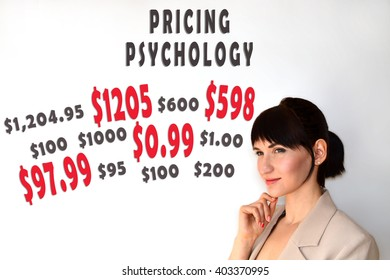 Pricing psychology. Marketing concept of charm prices