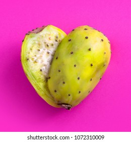 Prickly Pear cut in half and arranged into a heart shape. Also known as a Cactus pear.
