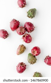 Prickly pear fruit on a white background, creative flat lay food concept, prickly pear cactus, Opuntia ficus-indica - Shutterstock ID 1467860900