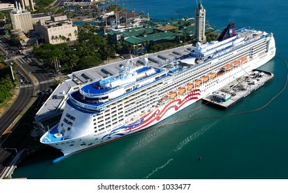 Pride Of America in Honolulu Harbor at the Aloha Tower Marketplace in Hawaii