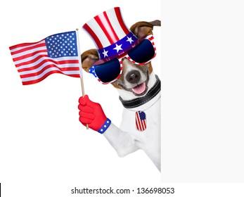 pride american dog waving us flag behind banner