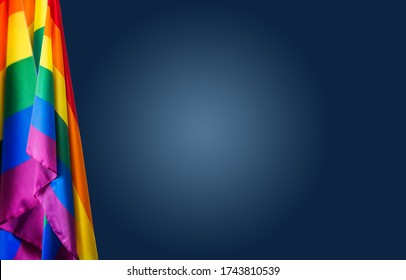 Pride community flags on blue background. Perfect banner, background for pride month.