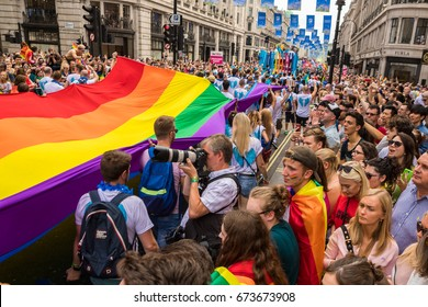 Pride in London Parade 2017 July 8 on Oxford Circus and Regent Street.   Series of  Reportage photo from gay parade.
