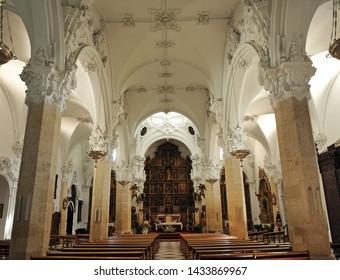Priego, Spain - Nov 1, 2014: Inside the Assumption church (Iglesia de la Asuncion) in Priego de Cordoba, province of Cordoba Andalusia Spain