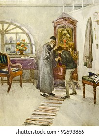 """The priest blesses the boy. Illustration by artist A.Apnist from book """"Leo Tolstoy """"Childhood, adolescence, youth"""", publisher - """"Partnership Sytin"""", Moscow, Russia, 1914."""