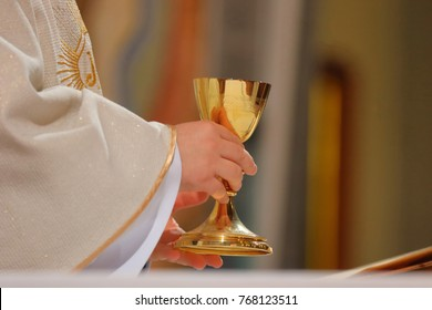 Priest celebrate mass at the church and empty place for text