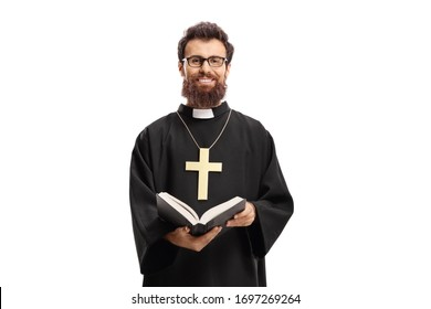 Priest with a cross and bible isolated on white background