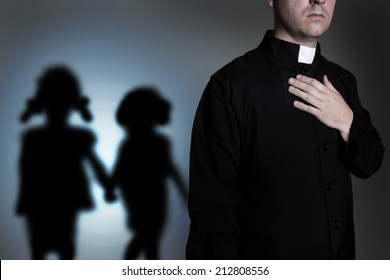 Priest with shadow of children