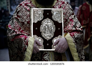 Priests and worshipers take part in litany in honor of Saint Demetrius  patron saint of the city of Thessaloniki, Greece on Oct. 25, 2014