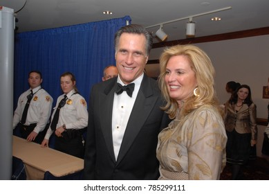 PRIL, Washington DC. USA, 21th 2007 Governor Mitt Romney and his wife Ann  Davies arrive at the annual White House Correspondents dinner in the lower lobby of the Washington Hilton Hotel