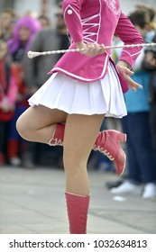 PRILEP, MACEDONIA. FEBRUARY 18 , 2018- Young majorettes from Serbia performs various dancing skills on street during the annual international carnival Prochka 2018, in city of Prilep,Macedonia,