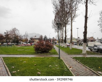 PRILEP/MACEDONIA - NOVEMBER 29 2016: Streets and buildings of Prilep City in Macedonia. Rainy and foggy day