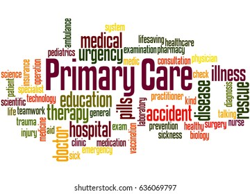 Primary care, word cloud concept on white background.