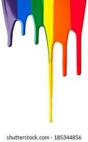 Primary colored and secondary colored paint drip on a white surface.