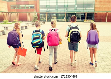 primary education, friendship, childhood and people concept - group of happy elementary school students with backpacks walking outdoors from back