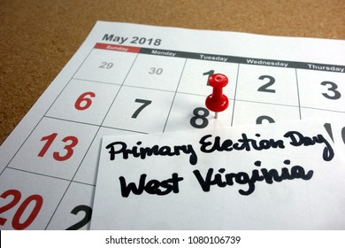 Primary Election Day West Virginia date marked on 2018 calendar