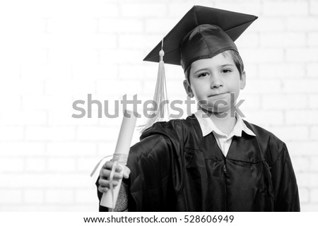 8ef60bdd614 Primary School Boy Cup Gown Posing Stock Photo (Edit Now) 528606949 ...