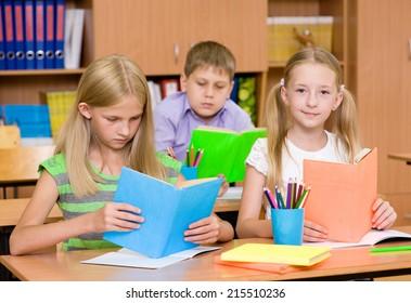 primary school children in the classroom reading books