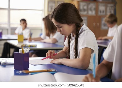 Primary school girl working at her desk in class