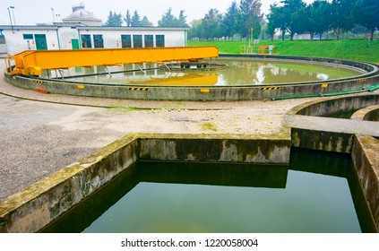 Primary sedimentation tank in a sewage water treatment plant, Friuli, Italy