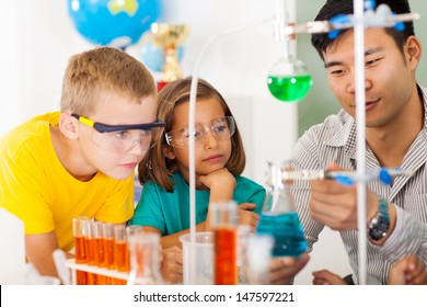primary students in science class with teacher