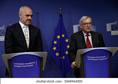 Prime Minister of Albania Edi Rama and EU Commission President Jean-Claude Juncker hold a press conference after their meeting at the EU Commission headquarters in Brussels, Belgium on Dec. 4, 2017