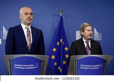 Prime Minister of Albania Edi Rama and EU Commissioner Johannes Hahn hold a press conference after their meeting at the EU Commission headquarters in Brussels, Belgium on Jul. 13, 2018