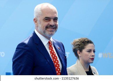 Prime Minister of Albania Edi Rama arrives for the first day of a NATO summit in Brussels, Belgium, July 11, 2018.