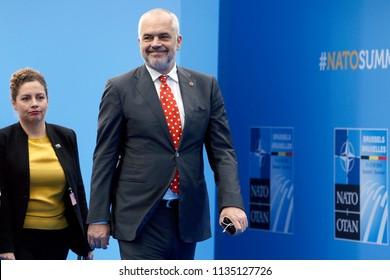 Prime Minister of Albania Edi Rama arrives for the second day of a NATO summit in Brussels, Belgium, July 12, 2018.