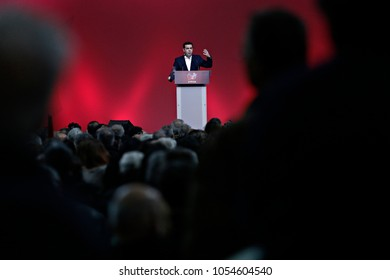 Prime Minister Alexis Tsipras speaks to supporters of his left-wing party Syriza during the first anniversary event of his party's general election victory in Athens, Greece on Jan. 24, 2016