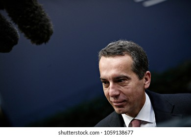 Prime minister of Austria Christian Kern arrives for a summit of European Union (EU) leaders in Brussels, Belgium on Dec. 15, 2017