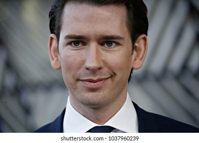 Prime Minister of Austria Sebastian Kurz attends the EU members' informal meeting of the 27 heads of state or government at European Council headquarters in Brussels, Belgium on February 23, 2018.