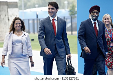 Prime Minister of Canada Justin Trudeau arrives for the second day of a NATO summit in Brussels, Belgium, July 12, 2018.