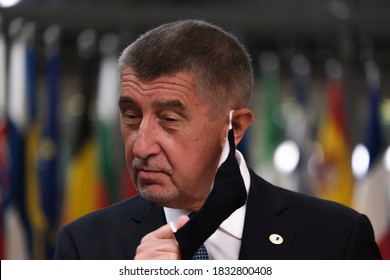 Prime Minister of Czech, Andrej Babis  arrives at the first face-to-face EU summit since the coronavirus disease (COVID-19) outbreak, in Brussels, Belgium July 17, 2020.