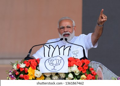 Prime Minister of India Narendra Modi addresses BJP activist during an election campaign rally ahead of Lok Sabha or general election 2019 on April 03, 2019 in West Bengal, India.