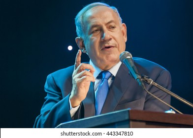 """Prime minister of Israel Benjamin Netanyahu giving an address at the Channel 9 """"People of the Year 2016"""" ceremony. Jerusalem, Israel, June 14, 2016."""