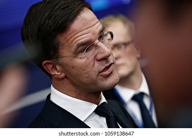 Prime Minister of the Netherlands, Mark Rutte arrives for a summit of European Union (EU) leaders in Brussels, Belgium on Dec. 14, 2017