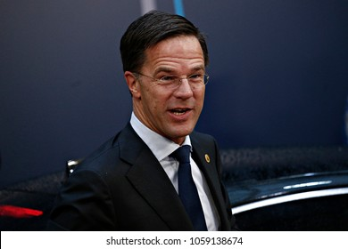 Prime Minister of the Netherlands, Mark Rutte arrives for a summit of European Union (EU) leaders in Brussels, Belgium on Dec. 15, 2017