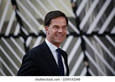 Prime Minister of the Netherlands, Mark Rutte arrives for a summit of European Union (EU) leaders in Brussels, Belgium on Mar. 9, 2017