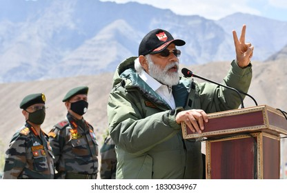 The Prime Minister, Shri Narendra Modi addressing the Indian troops, during his visit to Nimu in Ladakh on July 03, 2020.