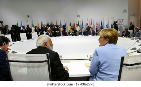 The Prime Minister, Shri Narendra Modi in the session on Biodiversity, Oceans, Climate at the G7 Summit, in Biarritz, France on August 26, 2019.