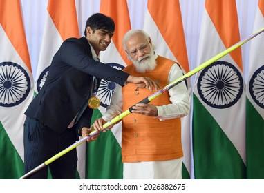 The Prime Minister, Shri Narendra Modi with the Olympic Gold Medalist, Shri Neeraj Chopra, in New Delhi on August 16, 2021.
