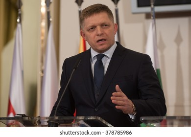 Prime Minister of Slovakia Robert Fico attends the press conference after summit of the V4  with Bulgaria and Macedonia in Prague, Czech Republic, Monday, February 15, 2016.