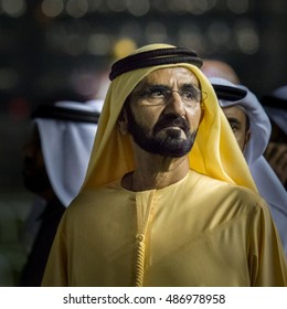Prime Minister of UAE and the Ruler of Dubai His Highness Sheikh Mohammed Bin Rashid Al Maktoum watching horse racing. Dubai, United Arab Emirates - 04/FEB/2016