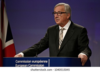 Prime Minister of the UK Theresa May and EU Commission President Jean-Claude Juncker hold a press conference after their meeting at the EU Commission headquarters in Brussels, Belgium on Dec. 4, 2017.