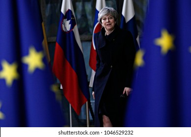Prime Minister of the UK, Theresa May arrives for a meeting with European Union leaders in Brussels, Belgium on Dec. 14, 2017