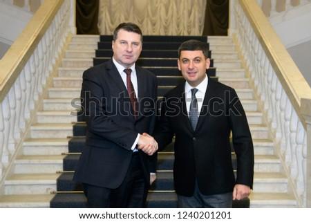 Prime Minister of Ukraine Volodymyr Groysman (R) and President of Latvia  Raimonds Vejonis ( 755008a553b